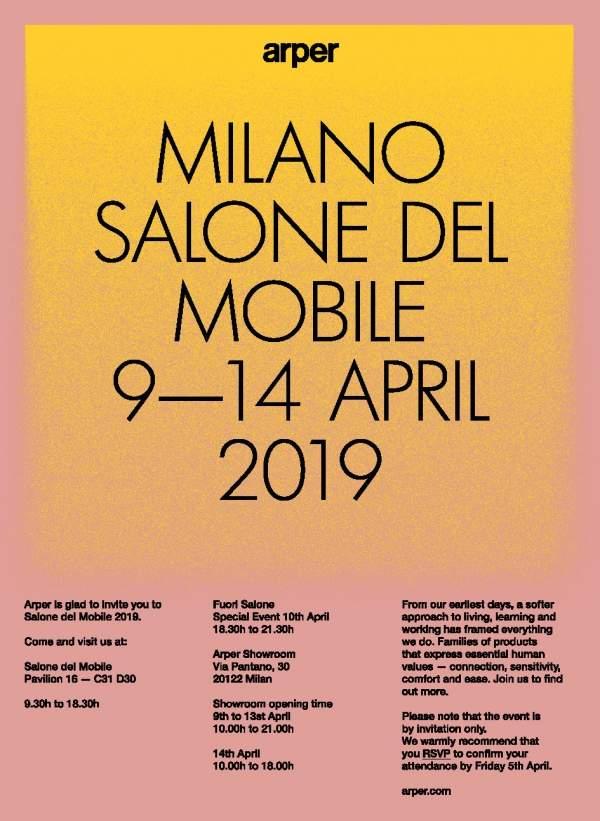 Arper al Salone del Mobile.Milano 2019